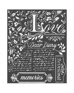 Stencil mix media cm 20x25 Dear Diary