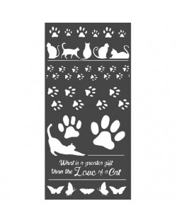 Stencil mix media cm 12x25 Life is better with cats