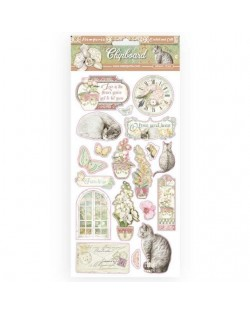 Chipboard cm 15x30 - Orchids and Cats