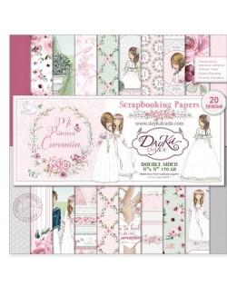 Colección papel comunión niña doble cara 10 hojas 20 x 20 cm Dayka SCP1035