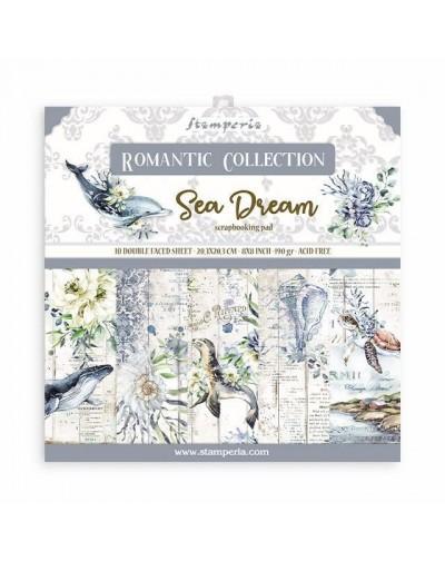 """Bloc Scrap 10 hojas 20.3X20.3 (8""""X8"""") 2 caras Romantic Sea Dream"""
