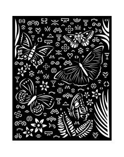 Stencil grueso 20x25 cm - Amazonia mariposas