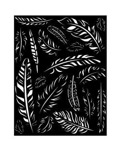 Stencil grueso 20x25 cm - Amazonia plumas