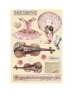 Silueta de madera de colores tamańo A5 - Passion violín y baile