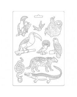 Molde flexible tamańo A4 - Amazonia animales
