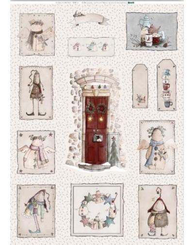 Panel tela Angeles y duendes Hechizo de navidad