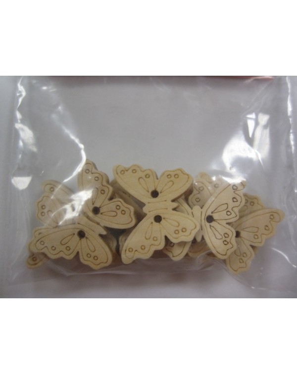 Botones mariposas madera