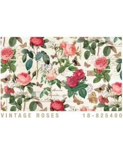 Papel Cartonaje rosas vintage