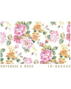 Papel Cartonaje hortensias y rosas
