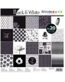 Bloc 40 hojas scrap Black & White
