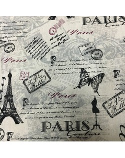 """Tejido algodón estampado especial bolsos """"Paris"""" 100x145 cm."""