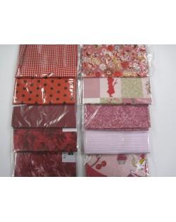 10 fat quarters 45 x 55 cm rojos-rosas