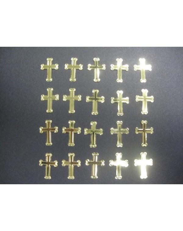 20 cruces troqueladas en cartón metalizado