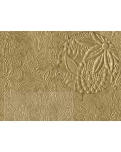 5 Papel texturizado flores color dorado