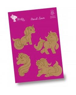 Set 4 unicornios DM 6-7 cm