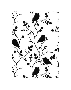 Carpeta embosing pajaros en ramas