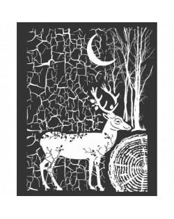 """Stencil Stamperia 20x25cm y 0.5mm de espesor """"Cosmos Ciervo y corteza"""""""