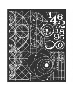 """Stencil Stamperia 20x25cm y 0.5mm de espesor """"Cosmos Astronomía y Números"""""""