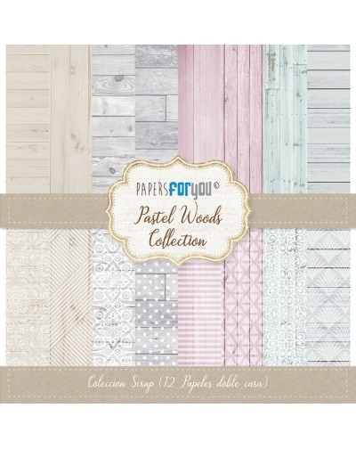 Coleccion 12 papeles pastel woods