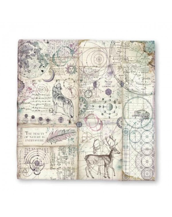 Hoja Magna Carta impresa cm. 30x30 Cosmos by Cristina Radovan